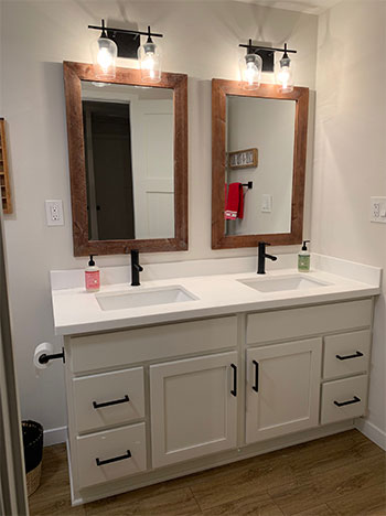 Refinished Bathroom Cabinets and Countertops